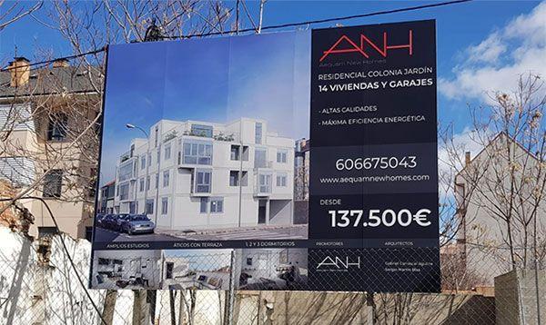 Rótulo Valla publicitaria Promoción viviendas